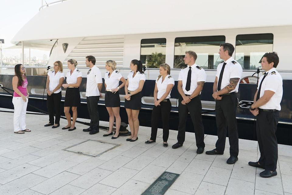 "<p>And you have to wear your ""whites"" (a.k.a. your white uniform) for these welcomes and send-offs. During the departure, <a href=""https://www.etonline.com/below-decks-kate-chastain-explains-how-yacht-tipping-actually-works-exclusive-134315"" rel=""nofollow noopener"" target=""_blank"" data-ylk=""slk:crew members must be present"" class=""link rapid-noclick-resp"">crew members must be present</a> when the tip is handed over. </p>"
