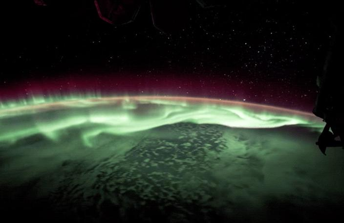 aurora southern lights earth atmosphere international space station iss
