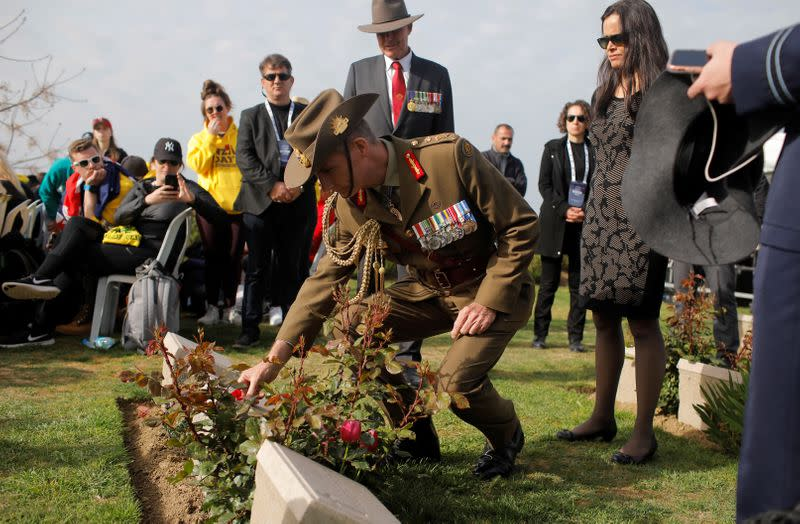 Australia's Chief of Defence Forces Angus Campbell visits the Lone Pine Australian memorial to attend a ceremony to mark the 104th anniversary of the World War One battle of Gallipoli, in Canakkale