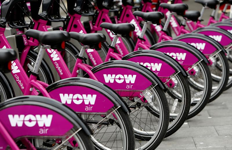 Bikes by a bike rental service of Icelandic airline WOW air are seen in Reykjavik, Iceland, August 5, 2017. REUTERS/Michaela Rehle
