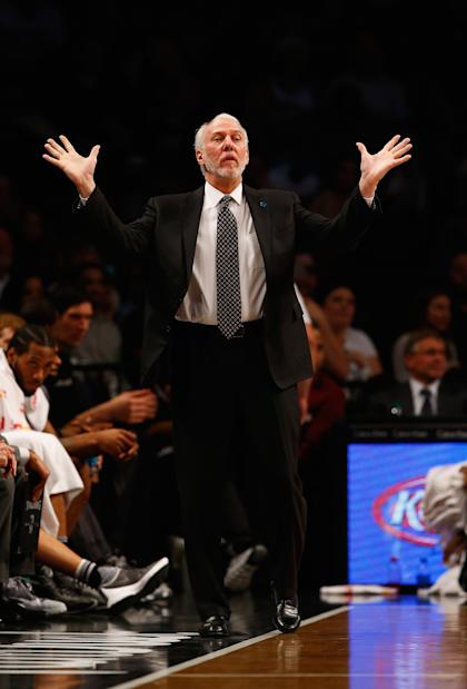Gregg Popovich doesn't have an answer for the Warriors either. (Al Bello/Getty Images)