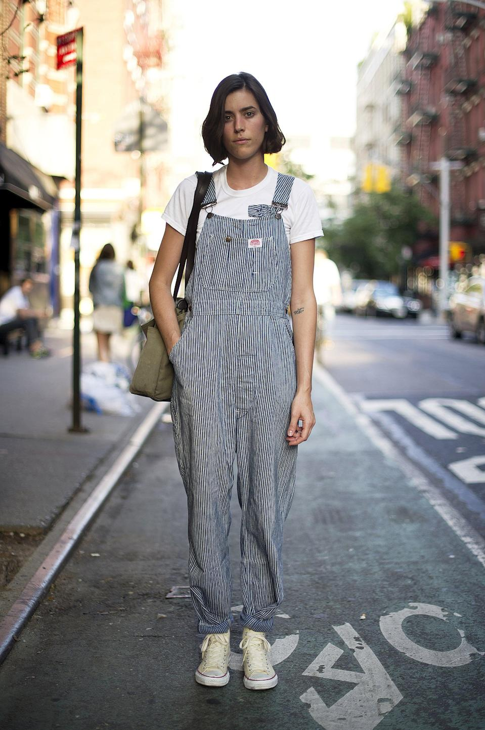 <p>We're loving the look of these overalls and easy kicks - a little more playful than your average denim.</p>