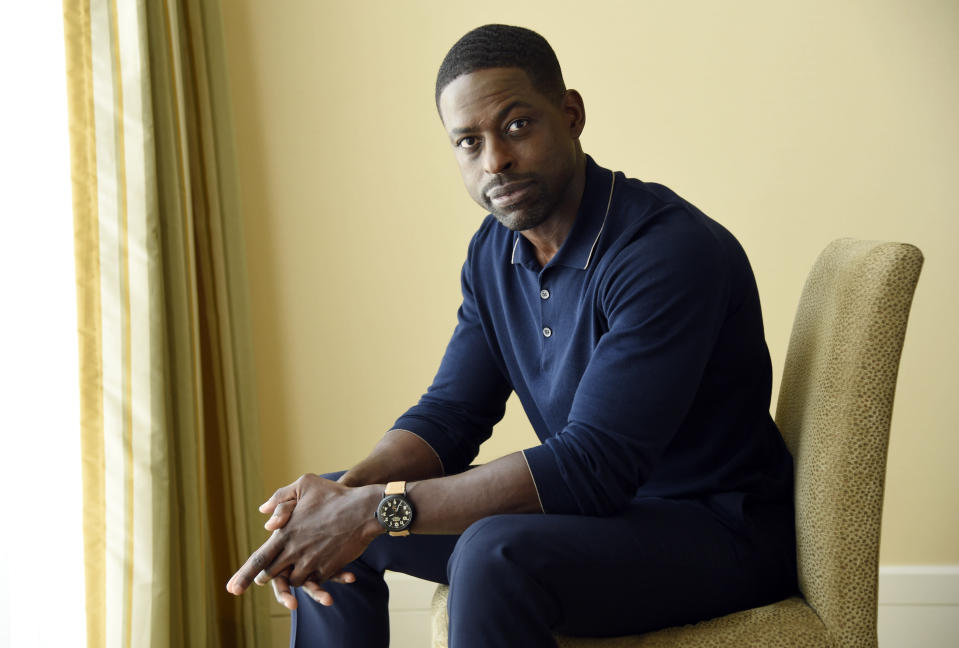 "FILE - Actor Sterling K. Brown, a cast member in the NBC series ""This Is Us,"" poses for a portrait during the 2017 Television Critics Association Summer Press Tour in Beverly Hills, Calif. on Aug. 3, 2017. Season five debuts Tuesday and will address the pandemic and Black Lives Matter movement. (Photo by Chris Pizzello/Invision/AP, File)"