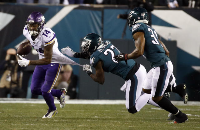 <p>Minnesota Vikings' Stefon Diggs is stopped by Philadelphia Eagles' Malcolm Jenkins during the first half of the NFL football NFC championship game Sunday, Jan. 21, 2018, in Philadelphia. (AP Photo/Patrick Semansky) </p>