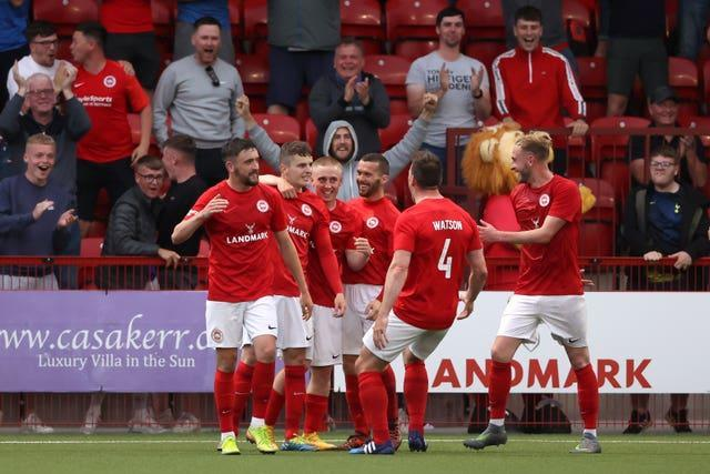 Ronan Hale celebrates scoring Larne's first goal of the game against Bala at Inver Park