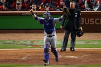 ST LOUIS, MO - OCTOBER 20: Mike Napoli #25 of the Texas Rangers celebrates after defeating the St. Louis Cardinals 2-1 during Game Two of the MLB World Series at Busch Stadium on October 20, 2011 in St Louis, Missouri. (Photo by Dilip Vishwanat/Getty Images)