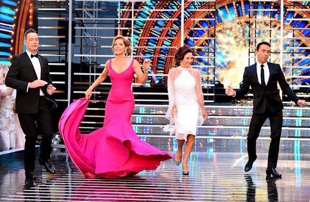 Craig Revel Horwood, Shirley Ballas and Bruno Tonioli with former 'Strictly' judge Darcey Bussell in 2018. (PA)