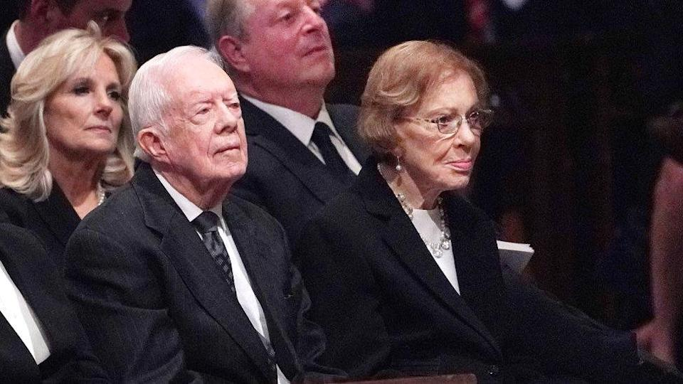 Former US president Jimmy Carter and his wife Rosalynn Carter and (back row) Jill Biden and former vice president Al Gore attend a funeral service for former US president George HW Bush at the National Cathedral in Washington DC in December 2018