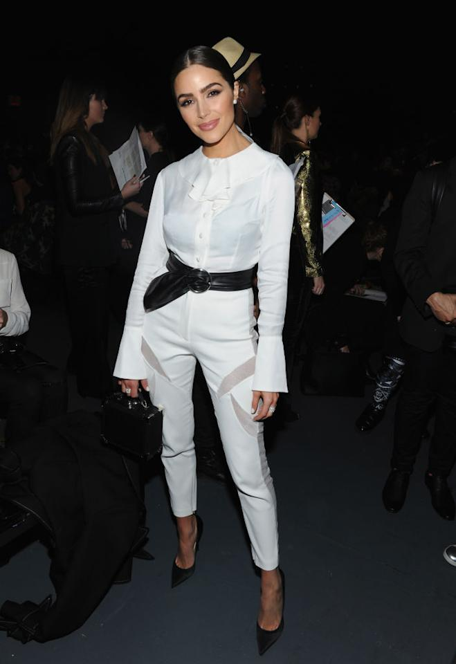 <p>The model wore a fitted white jumpsuit with a black belt at the John Paul Ataker Fall/Winter 2017 runway show on Feb. 14 in New York City. (Photo: Getty Images) </p>
