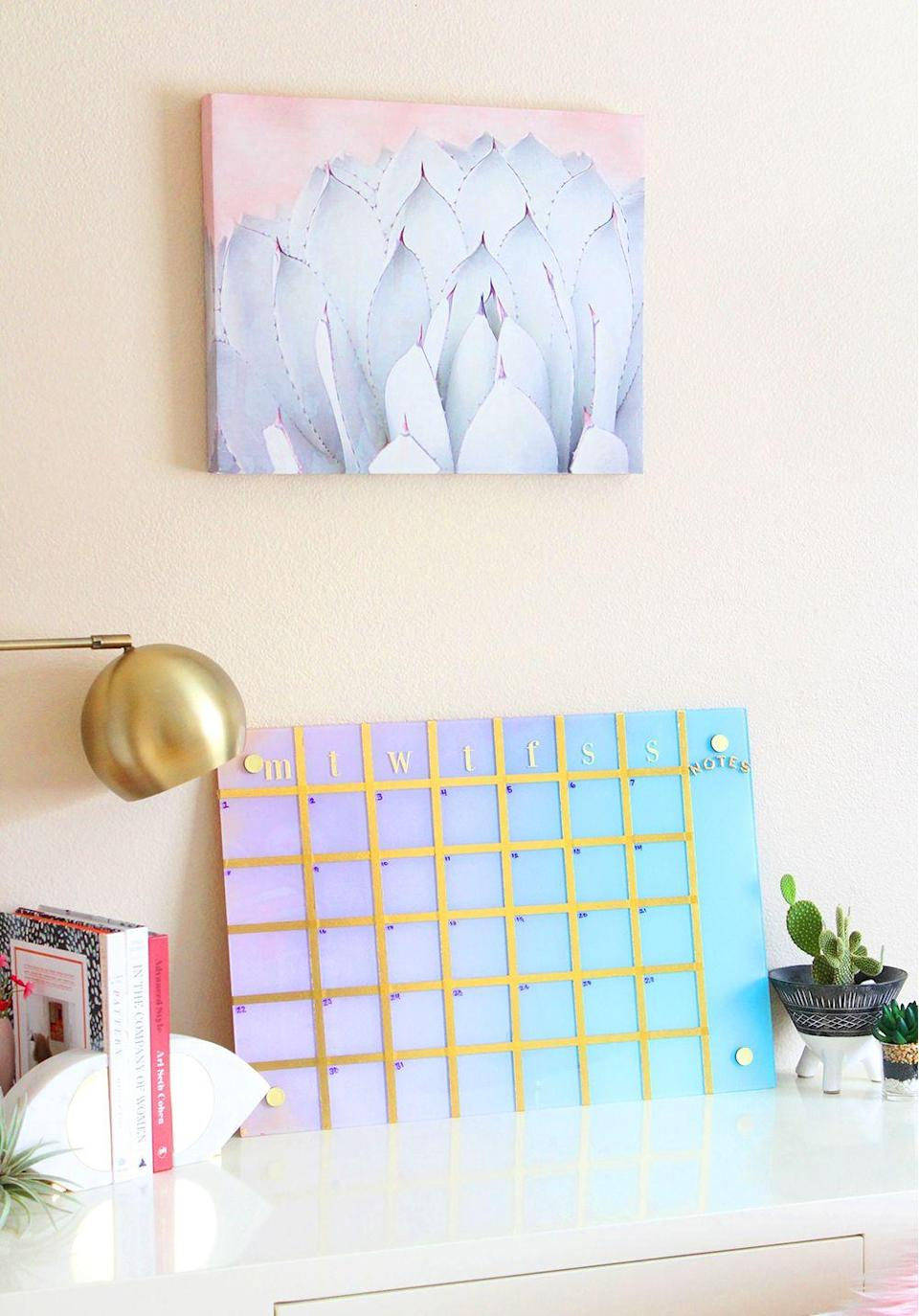 """<p>Rumor has it that if her calendar looks like wall art, she might actually look at it every once and while. It's amazing what washi tape can do.</p><p><em><a href=""""https://blissmakes.com/diy-gradient-calendar/"""" rel=""""nofollow noopener"""" target=""""_blank"""" data-ylk=""""slk:Get the tutorial at BlissMakes »"""" class=""""link rapid-noclick-resp"""">Get the tutorial at BlissMakes »</a></em> </p>"""