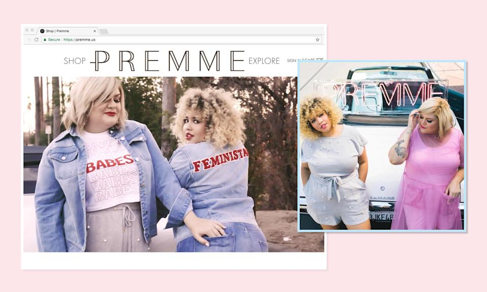 """<p><a rel=""""nofollow noopener"""" href=""""https://premme.us/"""" target=""""_blank"""" data-ylk=""""slk:Premme"""" class=""""link rapid-noclick-resp"""">Premme</a> — recently launched by two fashion bloggers, Nicolette Mason and Gabi Fresh — offers clothes that sold out on its first official day online. The line is trendy without being exclusionary — both because of sizesand price point. (Photo: Premme/Instagram) </p>"""