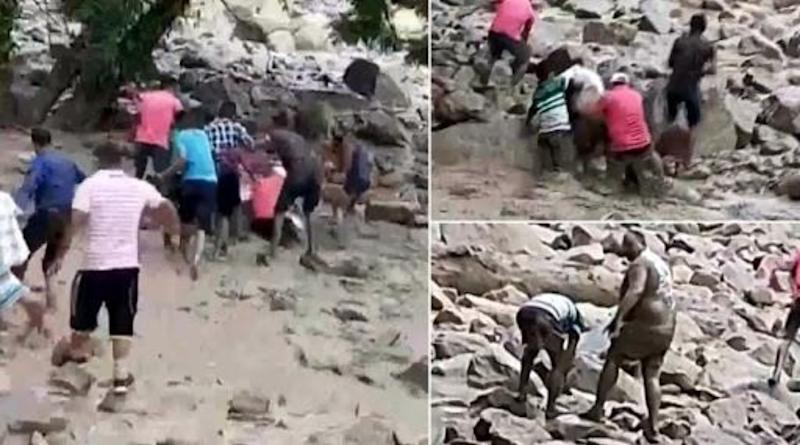 Harish Dhami, Congress MLA, Slips And Falls into Flooded Rivulet in Pithoragarh, Party Workers Rescue Him; Watch Video