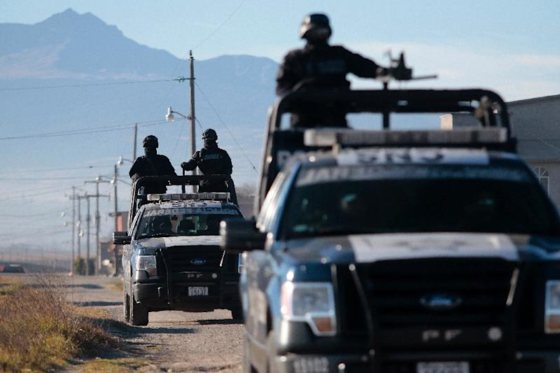 "Federal Police officers patrol the area near the Almoloya prision where ""El Chapo Guzman"" was re-admitted, in Almoloya de Juarez, Mexico, on January 9, 2016 (AFP Photo/Pedro Pardo)"