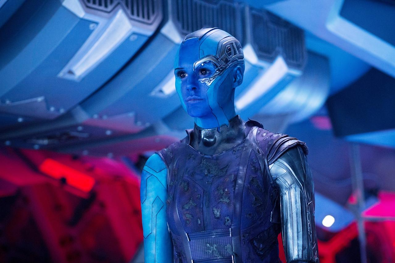 <p>For the first of the <em>Guardians of the Galaxy</em> films, Gillan shaved her head completey to transform into Nebula (though filmmakers have since found an easier way to get her into character). (Photo: Everett Collection) </p>