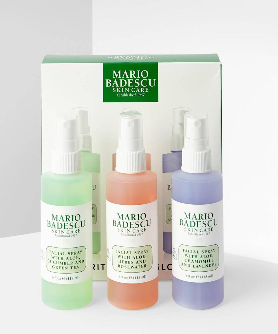 "<br><br><strong>Mario Badescu</strong> Spritz.Mist.Glow Set, $, available at <a href=""https://go.skimresources.com/?id=30283X879131&url=https%3A%2F%2Fwww.beautybay.com%2Fp%2Fmario-badescu%2Fspritzmistglow-set%2F"" rel=""nofollow noopener"" target=""_blank"" data-ylk=""slk:Beauty Bay"" class=""link rapid-noclick-resp"">Beauty Bay</a>"
