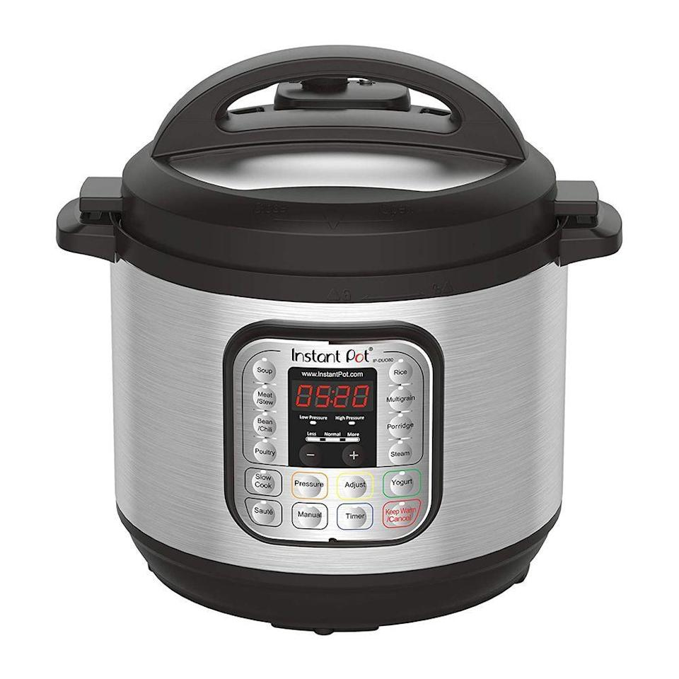 "<p><strong>Instant Pot</strong></p><p>amazon.com</p><p><strong>$79.00</strong></p><p><a href=""https://www.amazon.com/dp/B00FLYWNYQ?tag=syn-yahoo-20&ascsubtag=%5Bartid%7C10055.g.35996140%5Bsrc%7Cyahoo-us"" rel=""nofollow noopener"" target=""_blank"" data-ylk=""slk:Shop Now"" class=""link rapid-noclick-resp"">Shop Now</a></p><p>The Instant Pot may have gained fame on Pinterest, but it's not just for food bloggers! Nearly 31,000 people and a 4.6-star rating prove that it's a worthy investment for anyone who likes to cook at home, but needs a few shortcuts along the way. </p><p>The Instant Pot is a 7-in-1 multicooker that functions as a programmable pressure cooker, rice cooker, slow cooker, steamer, yogurt maker, and more. Many customers report cooking with it almost every day of the week.</p>"