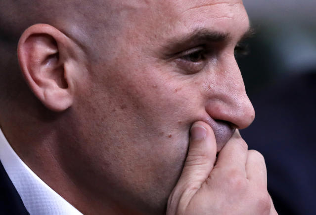 FILE - In this Wednesday, June 13, 2018 file photo, Spanish football president Luis Rubiales gestures during a press conference at the 2018 soccer World Cup in Krasnodar, Russia. A Spanish court is going to decide Thursday, Nov. 14, 2019 whether the Spanish league will be allowed to play the Villarreal-Atletico Madrid game in the United States next month. The league accuses the Spanish soccer federation of unfair competition for not giving its approval for the game scheduled for Dec. 6. The dispute is the latest between league president Javier Tebas and federation president Luis Rubiales, two outspoken figures in Spanish soccer who have been at odds over a series of issues. (AP Photo/Manu Fernandez, file)