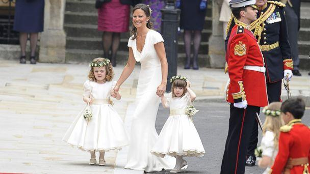PHOTO: Pippa Middleton escorts bridesmaids before her sister Kate Middleton's marriage to Prince William upon arrival at Westminster Abbey in London, April 29, 2011. (Antony Jones/Julian Parker/Mark Cuthbert/UK Press via Getty Images)
