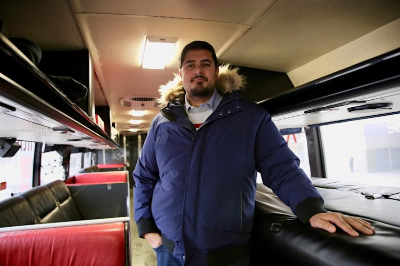 Naeem Farooqui, who works in the transit industry, converted an outdated coach bus into a comfortable place to sleep and relax. (Photo: Samantha Beattie/HuffPost Canada)