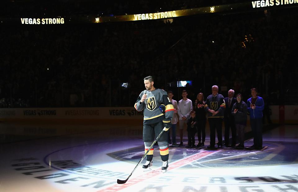 """<p>Las Vegas native Deryk Engelland had this to say during a pre-game speech: """"To all the brave first responders that have worked tirelessly and courageously through this whole tragedy, we thank you. To the families and friends of the victims, know that we'll do everything we can to help you and our city heal. We are Vegas Strong."""" (Bruce Bennett/Getty Images) </p>"""