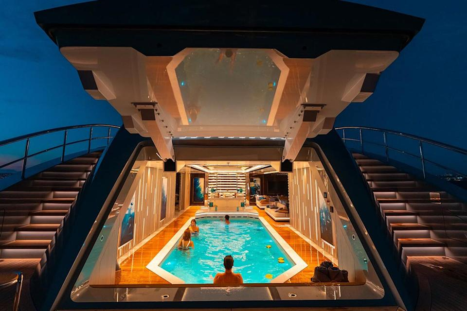 The interior pool on the superyacht Tatina by IYC