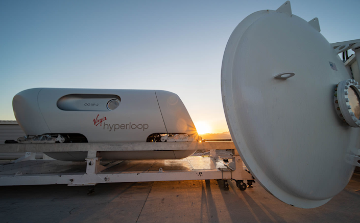 The Hyperloop pod at the test site in Nevada (Virgin)