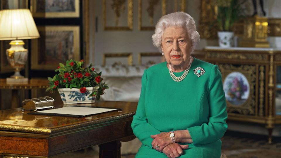 EMBARGOED: NOT FOR PUBLICATION OR ONWARD DISTRIBUTION BEFORE 2000 BST Sunday April 5, 2020. Buckingham Palace handout image of Queen Elizabeth II during her address to the nation and the Commonwealth in relation to the coronavirus epidemic.