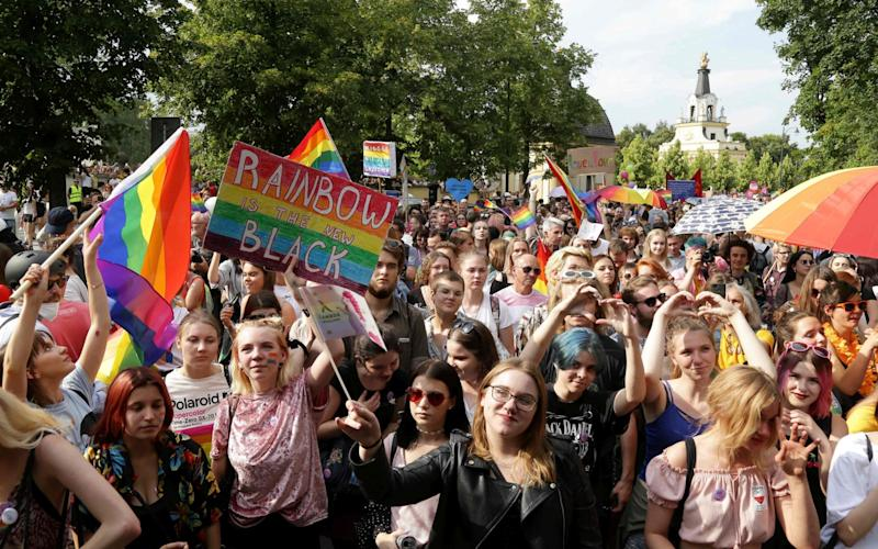 July's gay Pride march in the northeastern Polish city of Bialystok was targeted with abuse and violence - AFP