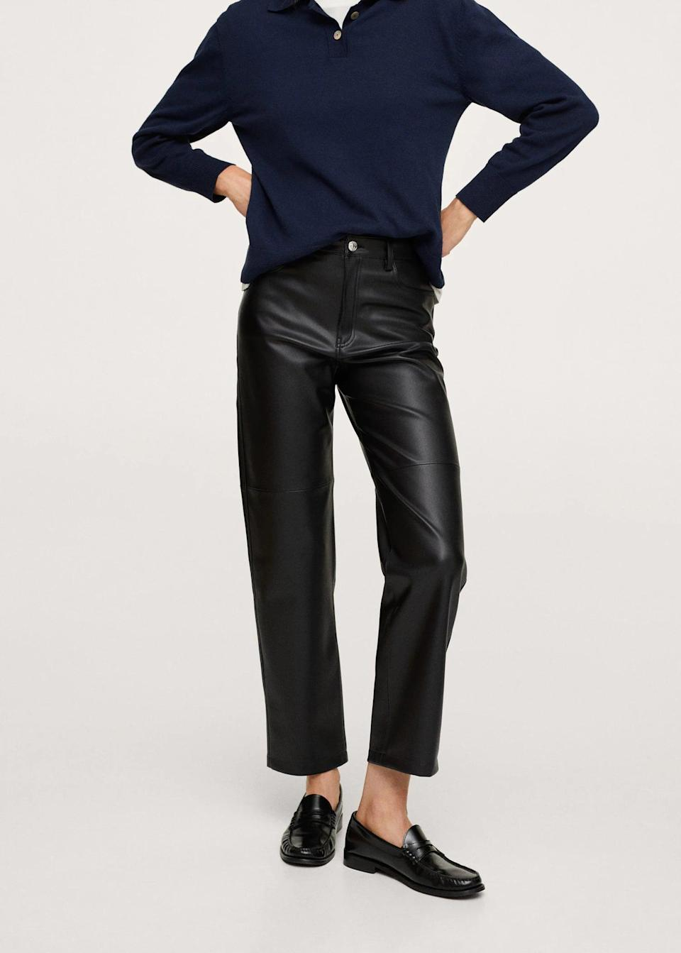 <p>Leather is a popular fabric during the fall, and for good reason. These <span>Leather Trousers</span> ($60) look glossy and put-together, making them a good base to create a chic everyday or otherwise dressy look.</p>