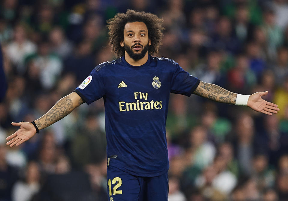 SEVILLE, SPAIN - MARCH 08: Marcelo Vieira of Real Madrid CF reacts during the Liga match between Real Betis Balompie and Real Madrid CF at Estadio Benito Villamarin on March 08, 2020 in Seville, Spain.  (Photo by Silvestre Szpylma/Quality Sport Images/Getty Images)