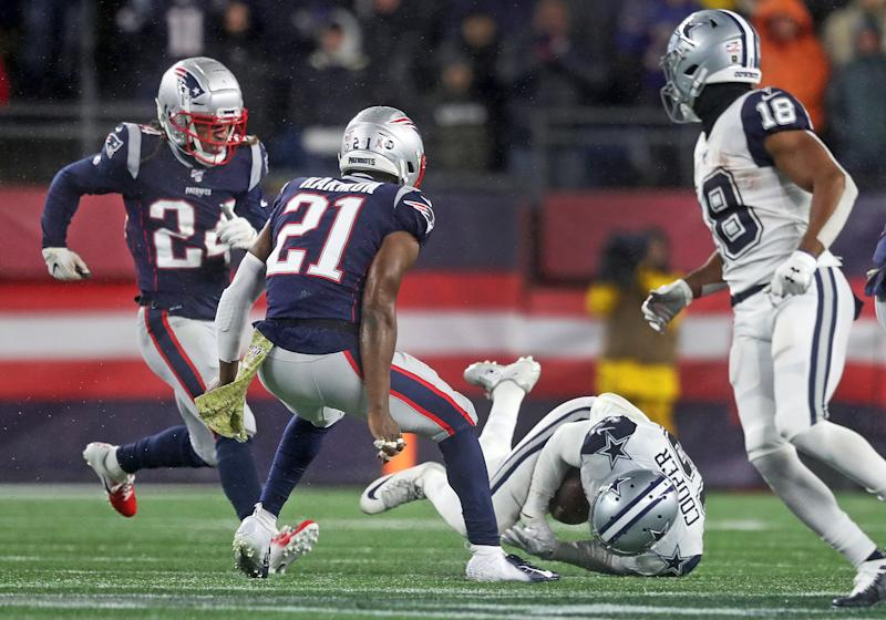 FOXBOROUGH, MA - NOVEMBER 24: Dallas Cowboys wide receiver Amari Cooper hits the ground while attempting a catch during the fourth quarter. The call of a catch on the field was overturned on review, and the ball went over to Patriots on downs, sealing their 13-9 victory. The Patriots won 13-9. The New England Patriots host the Dallas Cowboys for a Sunday afternoon football game at Gillette Stadium in Foxborough, MA on Nov. 24, 2019. (Photo by Jim Davis/The Boston Globe via Getty Images)