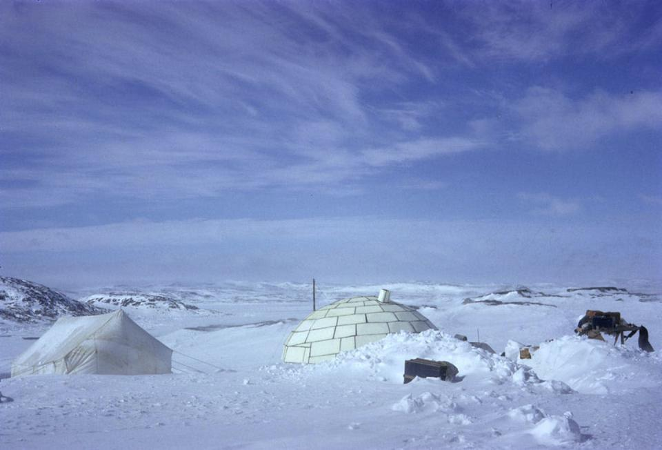 """<span class=""""caption"""">A 1961 photo that shows a Styrofoam igloo in the Inuit community of Kinngait.</span> <span class=""""attribution""""><span class=""""source"""">(Library and Archives Canada/Charles Gimpel)</span></span>"""