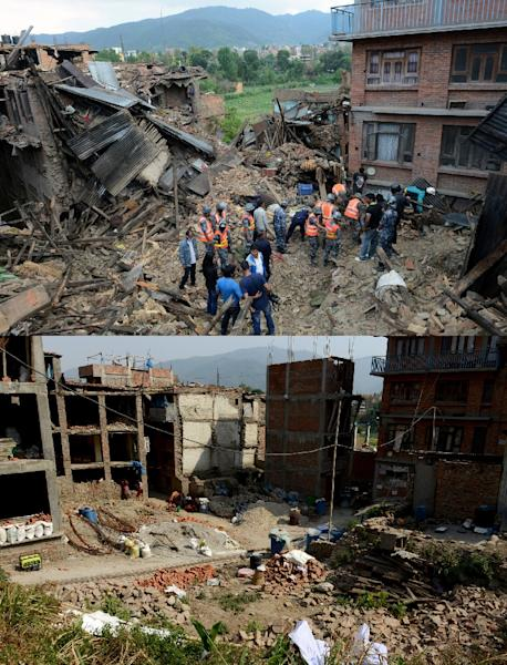 Rescue personnel search for survivors after an earthquake in Bhaktapur, on the outskirts of Kathmandu, on April 27, 2015 (top) and the same spot seen on April 22, 2016 (AFP Photo/Prakash Mathema)