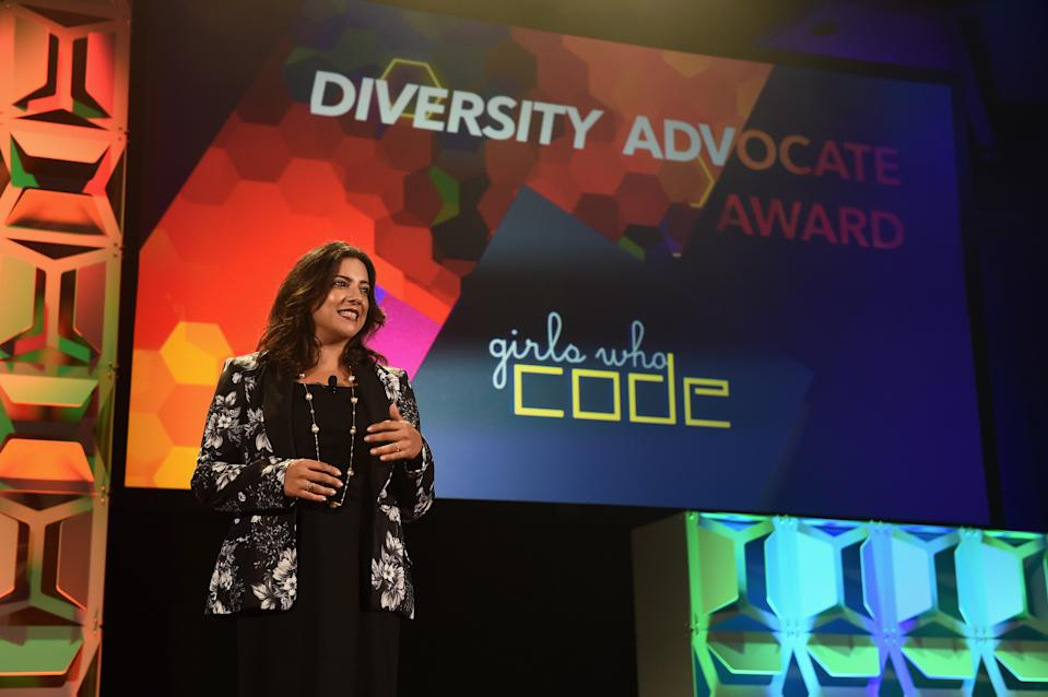 NEW YORK, NY - SEPTEMBER 27:  Reshma Saujani, Founder of Girls Who Code accepts the Diversity Advocate Award onstage at the 34th Annual Walter Kaitz Foundation Fundraising Dinner at Marriot Marquis Times Square on September 27, 2017 in New York City.  (Photo by Larry Busacca/Getty Images for The Walter Kaitz Foundation)