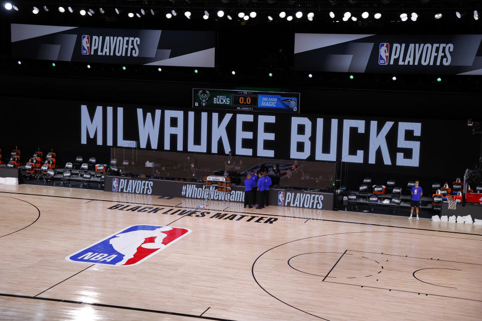 The Bucks refused to take the court on Wednesday, three days after Blake's shooting. (Kevin C. Cox/Pool Photo via AP)