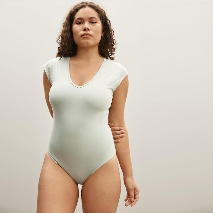"""Something about the minty hue of this bodysuit just speaks to us. Pair it with a black midi skirt for a dressed-up vibe, or keep it casual with high-waist denim. $35, Everlane. <a href=""""https://www.everlane.com/products/womens-v-ballet-bodysuit-bikini-laurel?collection=womens-sale"""" rel=""""nofollow noopener"""" target=""""_blank"""" data-ylk=""""slk:Get it now!"""" class=""""link rapid-noclick-resp"""">Get it now!</a>"""