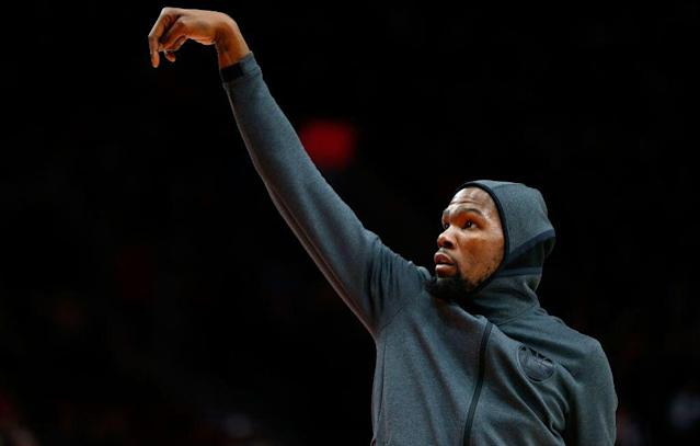 Kevin Durant has been ruled out for Game 1 and unlikely for Game 2. (Getty Images)