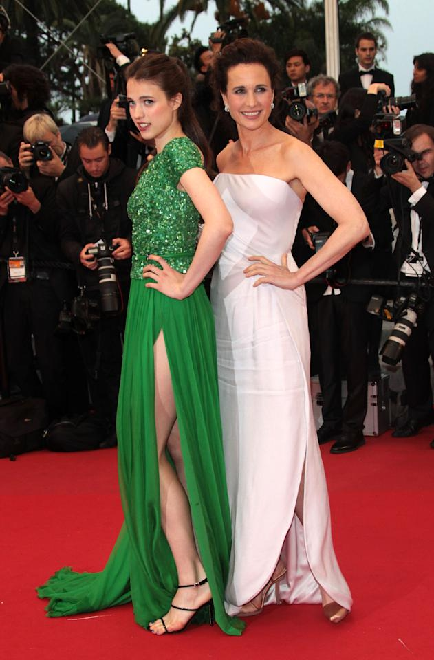 "CANNES, FRANCE - MAY 27:  Actress Andie MacDowell () and daughter Sarah Margaret Qualley attend the Closing Ceremony and ""Therese Desqueyroux"" premiere during the 65th  Annual Cannes Film Festivalon May 27, 2012 in Cannes, France.  (Photo by Vittorio Zunino Celotto/Getty Images)"