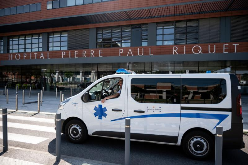 """This photo taken on July 27, 2020 shows an ambulance parked at the entrance of the Hospital Pierre-Paul Riquet of the University Hospital Centre (CHU) Purpan in Toulouse, southern France where Danish prince Joachim is hospitalised. - Danish Prince Joachim, 51, was operated successfully, from a blood clot in his brain at the CHU Toulouse. His state is """"stable"""" announced the Royal Court on July 25, 2020. (Photo by Lionel BONAVENTURE / AFP) (Photo by LIONEL BONAVENTURE/AFP via Getty Images)"""