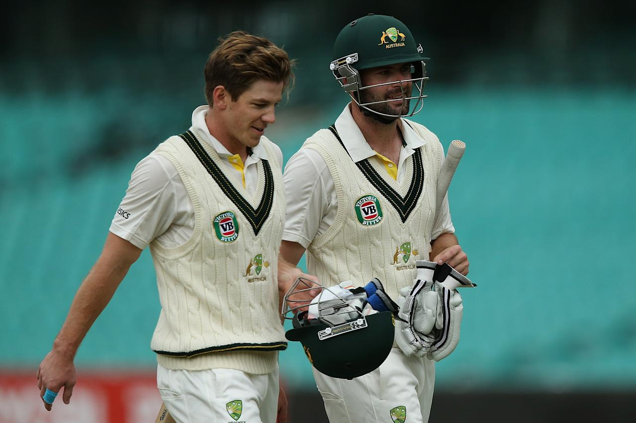 SYDNEY, AUSTRALIA - NOVEMBER 03:  Tim Paine and Alex Doolan of Australia A leave the field for lunch during day two of the International TOur Match between Australia A and South Africa at Sydney Cricket Ground on November 3, 2012 in Sydney, Australia.  (Photo by Chris Hyde/Getty Images)