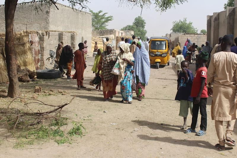 """Maiduguri residents (pictured April 7, 2019, after a double suicide attack) were evacuated """"for their safety as a result of ongoing operations to flush out insurgents in the area"""""""