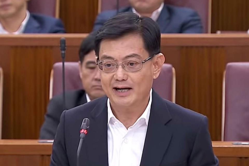 Deputy Prime Minister Heng Swee Keat delivering the first Budget on 18 February 2020. (PHOTO: YouTube screengrab)