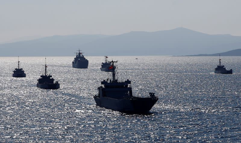 FILE PHOTO: Turkish Navy ships take part in a landing drill during the Blue Homeland naval exercise off the Aegean coastal town of Foca in Izmir Bay