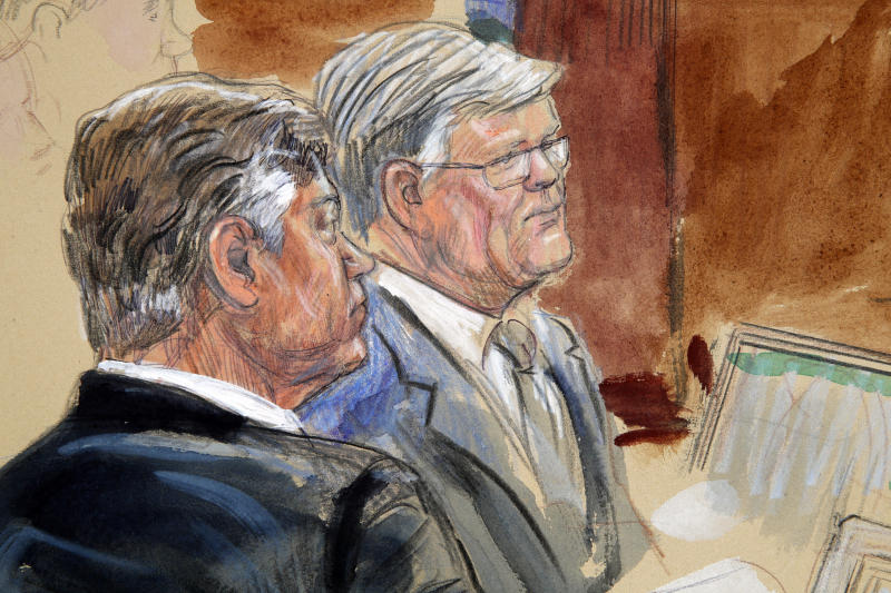 This courtroom sketch depicts former Donald Trump campaign chairman Paul Manafort, left, listening with his lawyer Kevin Downing to testimony from government witness Rick Gates as Manafort's trial continues at federal court in Alexandria, Va., Tuesday, Aug. 7, 2018. (Dana Verkouteren via AP)
