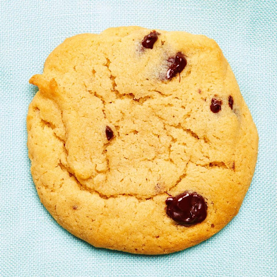 """<strong>Peanut Butter Chocolate Chip Cookies</strong><br>Yield: 5 dozen cookies<br><br><em>""""Every Christmas, my Polish grandmother baked enormous batches of these cookies — each made in the shape of a Hershey's kiss. When I bake them with my siblings over the holidays, it feels like we are still getting her kisses for Christmas!""""</em><br><br><strong>Ingredients</strong><br>1 cup peanut butter (I like Smuckers Natural)<br>1 cup butter<br>3/4 cup white sugar<br>3/4 cup brown sugar<br>3 eggs<br>1 tsp vanilla<br>3 cup flour<br>1 tsp baking soda<br>1 tsp baking powder<br>1 tsp salt<br>1 bag semi-sweet chocolate chips<br><br><strong>Instructions</strong><br>1. Preheat oven to 350ºF.<br><br>2. Cream butter, peanut butter, and sugars together in a large bowl. Add eggs and vanilla, beat to combine.<br><br>3. Combine flour, baking soda, baking powder, and salt in a separate bowl; mix thoroughly.<br><br>4. Mix dry ingredients gradually into the first bowl. Once evenly mixed, add chips.<br><br>5. Scoop onto cookie sheet with a teaspoon, space cookies about one inch apart. Bake for 10 to 12 minutes.<span class=""""copyright"""">Photographed by Ted Cavanaugh; Food Styling by Claudia Ficca.</span>"""