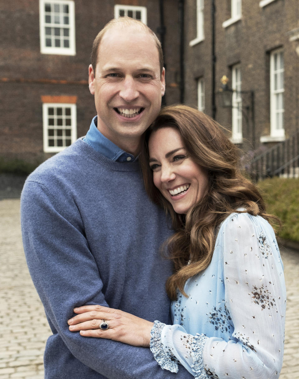 Embargoed until 22.30hrs BST  APRIL 28TH 2021. THE DUKE AND DUCHESS OF CAMBRIDGE A new portrait of The Duke and Duchess of Cambridge taken at Kensington Palace this week to mark their 10th wedding anniversary. Obligatory credit line must be observed:  Photo by CHRIS FLOYD/CAMERA PRESS.  This image is provided for free editorial use in connection with the anniversary until May 12th 2021. It must then be removed from all your databases and those of your sub agencies. Thereafter it will be available via Camera Press on a permissions basis. This photograph is strictly for editorial news usage only, no commercial, book, souvenir or promotional use permitted. The photograph cannot be cropped, manipulated or altered in any way