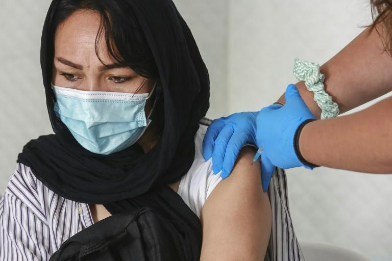Residents in the Lesbos camp are being vaccinated with the Johnson & Johnson Covid-19 jab