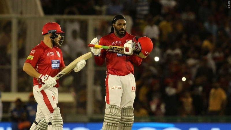 Chris Gayle celebrates a century for KXIP in IPL 2018