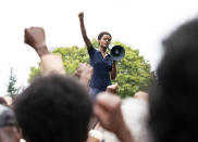 """This image released by Amazon Prime Video shows Letitia Wright as Altheia Jones-LeCointe in a scene from """"Mangrove."""" (Des Willie/Amazon Prime Video via AP)"""
