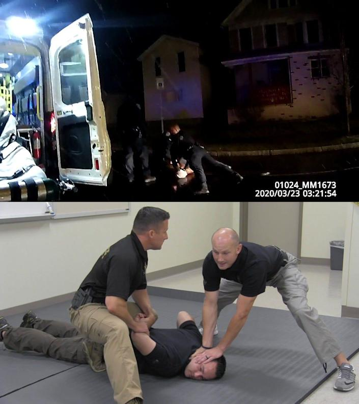 Above: Police officer Mark Vaughn, center, restrains Daniel Prude on March 23. Below: Trainers display the restraint technique.
